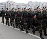 Gli allievi del ` militare-patriottico delle riserve di manodopera del ` s di Mosca del ` del club stanno preparando per la parat Fotografia Stock Libera da Diritti