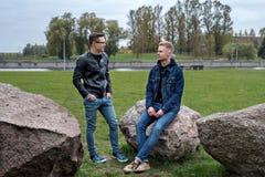 Gli allievi dell'università stanno sedendo sulle pietre e stanno parlando nel parco della città nel crepuscolo Immagine Stock