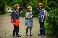Gli allievi della scuola elementare circa qualcosa allegramente parlano sul cortile della scuola Immagine Stock