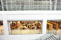 Gli allievi studiano insieme alla libreria multilivelli Immagine Stock Libera da Diritti