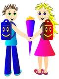 Gli allievi vanno a settembre per la prima volta a scuola Immagine Stock