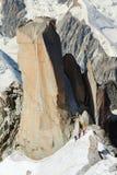 Gli alpinisti dell'albero salgono a sulla scogliera in alpi Fotografie Stock