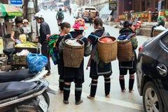 Gli alpinisti portano il canestro e stanno sulla strada al mercato dell'estate nel PA del Sa, Vietnam Immagini Stock Libere da Diritti