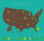 Gli alti Stati Uniti dettagliati tracciano le icone di eco dell'ecologia Fotografia Stock Libera da Diritti