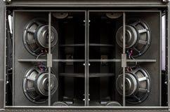 Gli altoparlanti sono neri Audio sistema altoparlanti Altoparlanti immagine stock libera da diritti