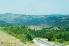 Gli altopiani nel villaggio dell'Azerbaigian Fotografie Stock