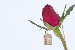 Gli amanti che baciano sul pendente dell'oro con colore rosso sono aumentato Fotografia Stock