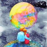 Gli amanti coppia il dolce nel disegno della mano della pittura dell'acquerello dell'universo Fotografia Stock