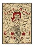 Gli amanti La carta di tarocchi illustrazione di stock