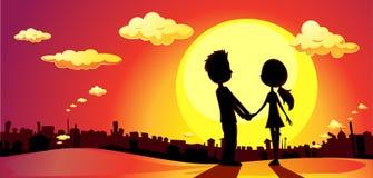 Gli amanti profilano nel tramonto - vettore royalty illustrazione gratis