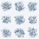 Gli ambiti di provenienza astratti con gli elementi isometrici, vector l'arte lineare royalty illustrazione gratis