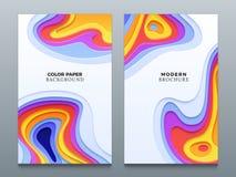 Gli ambiti di provenienza astratti di origami di affari di vettore di taglio della carta di colore con 3d hanno curvato i fori royalty illustrazione gratis