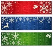 Gli ambiti di provenienza della bandiera dei fiocchi di neve di natale hanno impostato Fotografie Stock Libere da Diritti
