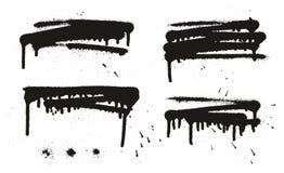 Gli ambiti di provenienza, le linee & i gocciolamenti di vettore dell'estratto della pittura di spruzzo hanno messo 16 Immagine Stock