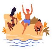 Gli amici che saltano nella stazione balneare dell'estate dei viaggiatori dell'acqua illustrazione di stock