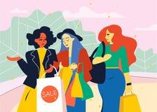 Gli amici femminili vanno dal deposito con i sacchetti della spesa illustrazione di stock