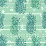 Gli ananas tribali d'annata di verde della menta vector il modello senza cuciture di ripetizione del fondo Stampa tropicale vario royalty illustrazione gratis