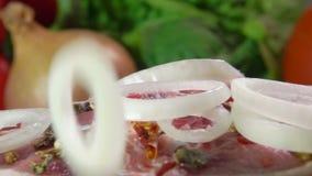 Gli anelli di cipolla che cadono su una carne figliano la bistecca stock footage