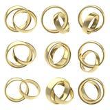 Gli anelli dorati di accoppiamenti di cerimonia nuziale hanno isolato Fotografia Stock Libera da Diritti