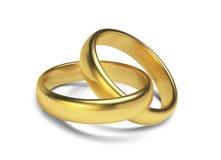 Gli anelli dorati isolati su fondo bianco Vector l'illustrazione Immagine Stock