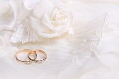 Gli anelli ed il bianco di cerimonia nuziale sono aumentato Fotografie Stock