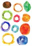 Gli anelli irregolari dell'acquerello, le ruote, strutture di arte di vettore, hanno macchiato le forme astratte Immagine Stock