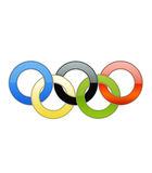 Gli anelli olimpici hanno isolato Immagine Stock Libera da Diritti