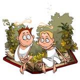 Gli angeli del fumetto in piante stanno sedendo su un grande libro Immagine Stock Libera da Diritti