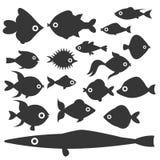 Gli animali acquatici tropicali della ciotola subacquea della siluetta del pesce dell'oceano dell'acquario innaffiano l'illustraz illustrazione di stock