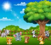 Gli animali del bambino stanno godendo della natura dalla gabbia illustrazione vettoriale
