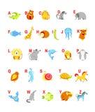 Gli animali del fumetto dell'alfabeto con le lettere per il vettore di studio di ABC del bambino progettano Fotografia Stock