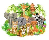 Gli animali della giungla gradiscono l'elefante, la zebra, la giraffa, il leone, tigre nella foresta tropicale illustrazione di stock