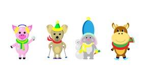 Gli animali di stile del fumetto con gli sport invernali obietta il clipart Fotografia Stock