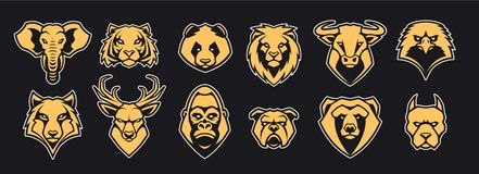 Gli animali dirigono l'insieme di vettore delle icone della mascotte royalty illustrazione gratis