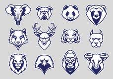 Gli animali dirigono l'insieme di vettore delle icone della mascotte illustrazione vettoriale