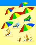 Gli animali divertenti si trovano al sole chaise-lounge sulla spiaggia Illustrazione di colore di vettore royalty illustrazione gratis