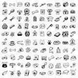 Gli animali domestici disegnati a mano di scarabocchio farciscono e forniscono le icone messe Illust di vettore illustrazione di stock