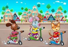 Gli animali domestici divertenti stanno guidando gli scootertoys nella città Immagini Stock
