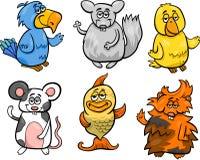 Gli animali domestici svegli hanno messo l'illustrazione del fumetto Immagine Stock Libera da Diritti