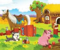Gli animali felici sull'azienda agricola Immagine Stock