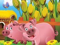 Gli animali felici sull'azienda agricola Fotografia Stock