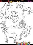 Gli animali hanno messo la pagina di coloritura del fumetto Fotografia Stock Libera da Diritti