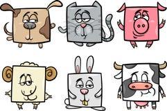 Gli animali quadrati hanno messo l'illustrazione del fumetto Immagine Stock
