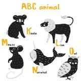 Gli animali svegli di Scandi hanno fissato l'alfabeto di ABC, insieme per gli elementi di ABC dei bambini nello stile scandinavo illustrazione vettoriale