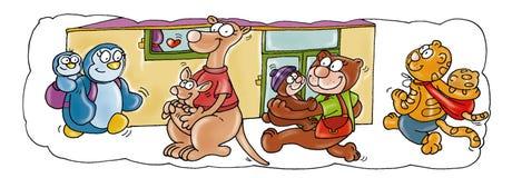 Gli animali vanno all'asilo Fotografie Stock