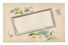 Gli anni 10 floreali della cartolina dell'annata in bianco Immagini Stock Libere da Diritti