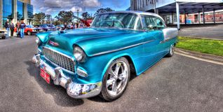 gli anni 50 Chevy Bel Air blu-chiaro Immagine Stock Libera da Diritti