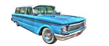 Gli anni 60 classici guadano lo station wagon isolato su un fondo bianco Fotografie Stock Libere da Diritti