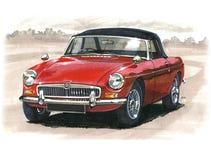 Gli anni 60 dell'automobile scoperta a due posti di MGB illustrazione vettoriale