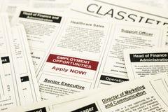 Gli annunci dei classifieds di opportunità di lavoro, ora si applicano Fotografia Stock Libera da Diritti